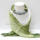 Green Two Tone Scarf Decorated with Fluorite